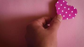 Origami Dotted Heart On Pink Background