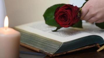 feche pegando uma rosa vermelha da mesa com um livro e velas