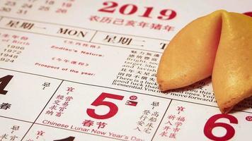 Cerca del hombre colocando un cerdito dorado en el calendario