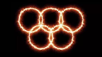 4k jogos olímpicos de fundo com anéis em chamas