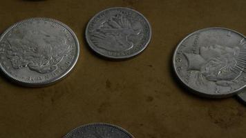 roterend voorraadbeeldschot van antieke Amerikaanse muntstukken - geld 0071
