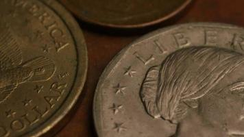 Rotating stock footage shot of American monetary coins - MONEY 0347