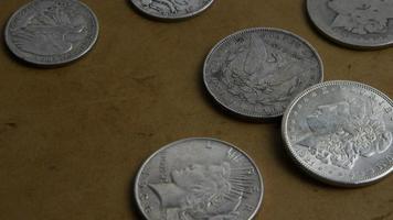 roterend voorraadbeeldschot van antieke Amerikaanse muntstukken - geld 0055