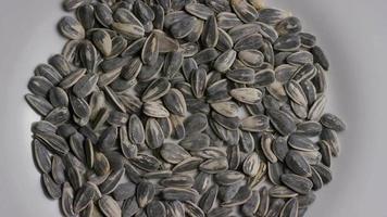ripresa cinematografica e rotante di semi di girasole su una superficie bianca - semi di girasole 001