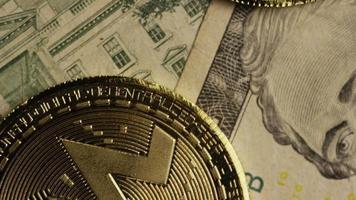 Rotating shot of Bitcoins (digital cryptocurrency) - BITCOIN MONERO 197