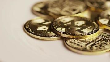 Rotating shot of Bitcoins (digital cryptocurrency) - BITCOIN MONERO 118