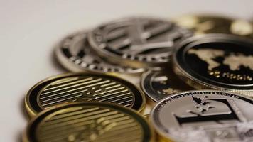 Rotating shot of Bitcoins (digital cryptocurrency) - BITCOIN MIXED 088