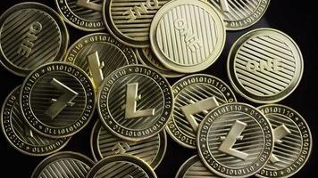 Rotating shot of Bitcoins (digital cryptocurrency) - BITCOIN LITECOIN 303