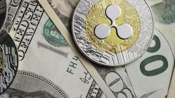 Rotating shot of Bitcoins (digital cryptocurrency) - BITCOIN RIPPLE 0226