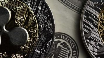 Rotating shot of Bitcoins (digital cryptocurrency) - BITCOIN RIPPLE 0230
