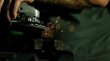 Sparks with angle grinder in ultra slow motion (1,500 fps) - ANGLE GRINDER PHANTOM 015 video