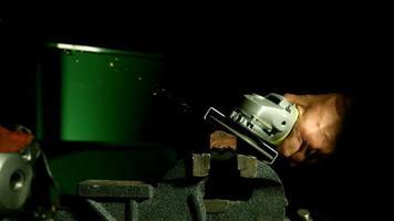 Sparks with angle grinder in ultra slow motion (1,500 fps) - ANGLE GRINDER PHANTOM 002 video