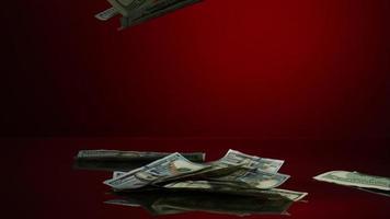 American $ 100 billetes cayendo sobre una superficie reflectante - dinero fantasma 068