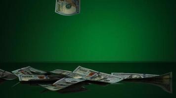 notas americanas de $ 100 caindo em uma superfície reflexiva - dinheiro fantasma 051