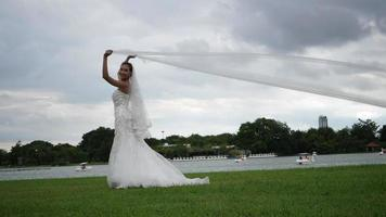 Slow motion Of Wedding Bride Happy Fun walking and running in the park