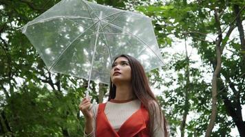 mano di donna sola che tiene ombrello sotto la pioggia video