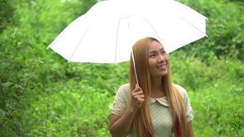 mulher caminhando com a mão segurando um guarda-chuva branco no parque