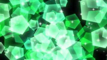 grüne funkelnde fünfeckige Partikel steigen auf