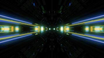 túnel brilhante de luzes futuristas de ficção científica