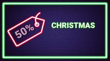venta de navidad animación de efecto de luz de neón