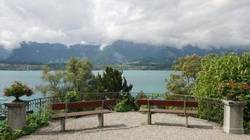 Thun lake background in Switzerland