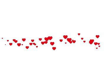 flutuando corações vermelhos em fundo branco loop sem costura