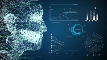 futuristas mesclam rostos de IA e VR humanos video