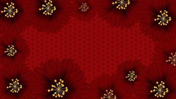 Red flowers on Chinese Background