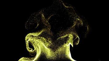 animação de partículas de fluido dourado