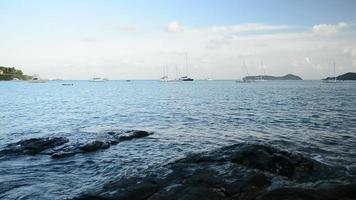 Scenery of Ao Yon Bay under a cloudy blue sky video