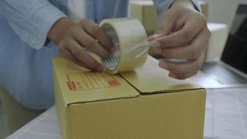 embalaje y entrega de propietarios de pequeñas empresas en línea video