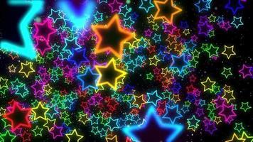estrelas de néon coloridas brilhantes voando em um fundo preto
