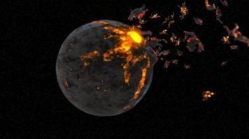 destrucción del planeta en escombros en el espacio