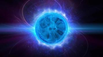 Una bola de energía azul brillante humeante en un fondo negro