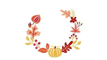 Caligrafia animação texto Olá outono dentro de uma coroa de flores.