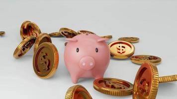 cofrinho e moedas caindo