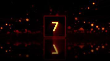 Caixa de cubo de luz 3d com contagem regressiva de dez a zero