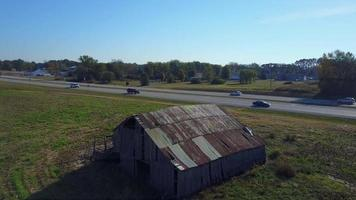 Barn flyover with cars