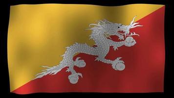 vídeo de stock de bucle de movimiento de 4k de bandera de Bután