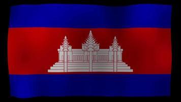 Video de stock de bucle de movimiento 4k de bandera de Camboya