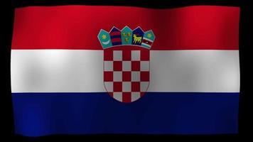 bucle de movimiento de 4k de bandera de croacia stock video
