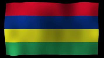 Bucle de movimiento de 4k de bandera de Mauricio video de stock