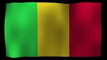 vídeo de stock de bucle de movimiento 4k de bandera de malí