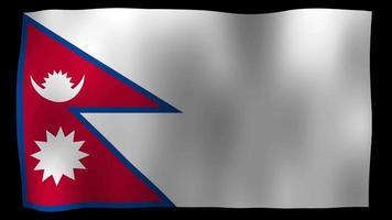 vídeo de stock de bucle de movimiento 4k de bandera de nepal