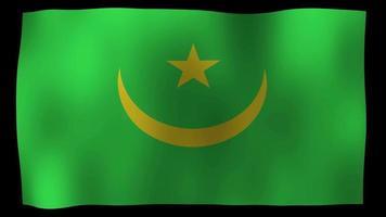 vídeo de stock de bucle de movimiento de 4k de bandera de mauritania