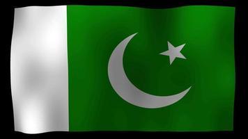 vídeo de stock de lazo de movimiento de 4k de bandera de Pakistán