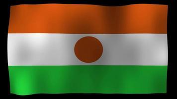 vídeo de stock de lazo de movimiento de 4k de bandera de Níger