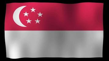 vídeo de stock de bucle de movimiento 4k de bandera de Singapur