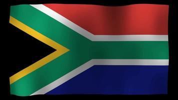 vídeo de stock de bucle de movimiento de 4k de bandera de Sudáfrica
