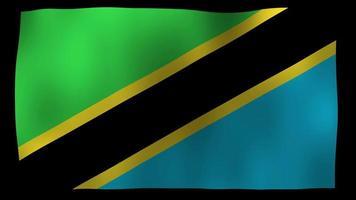 vídeo de stock de lazo de movimiento de 4k de bandera de tanzania